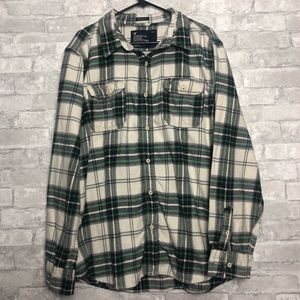 Green & White American Eagle Long Sleeve Flannel